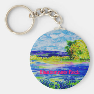 Bluebonnets Rock Basic Round Button Key Ring