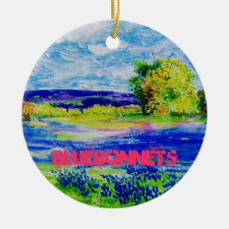 bluebonnets round ceramic decoration
