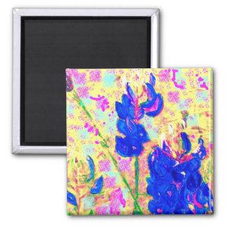 bluebonnets upclose square magnet