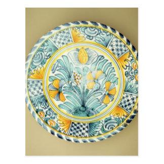 Bluedash' Delftware charger, Lambeth pottery Postcard