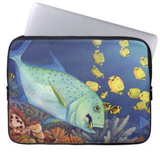 Bluefin Trevally (Omilu) Reef Scene Laptop Computer Sleeves