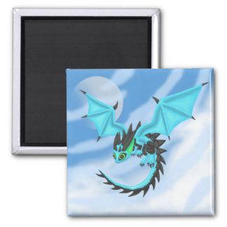 BlueFire Dragon Square Magnet