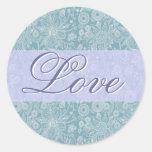 BlueFloral Love Sticker/Seal