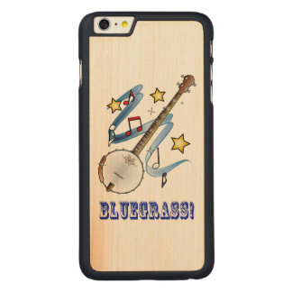 Bluegrass Banjo with Notes and Stars Carved Maple iPhone 6 Plus Case