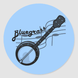 Bluegrass music with banjo round sticker