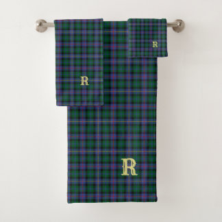 BlueGreen Tartan with (or without) your Initial(s) Bath Towel Set