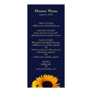 BlueII Sunflower Dinner Menu Rack Cards