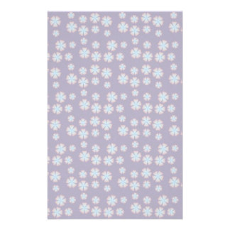 Blueish floral pattern custom stationery