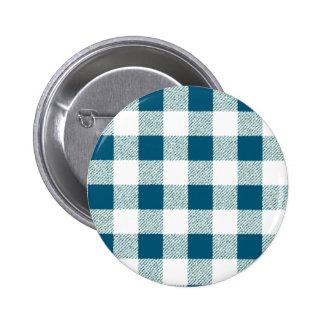 Blueish Green Gingham Check Pattern 6 Cm Round Badge
