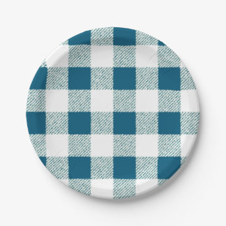 blueish green gingham check pattern paper plate