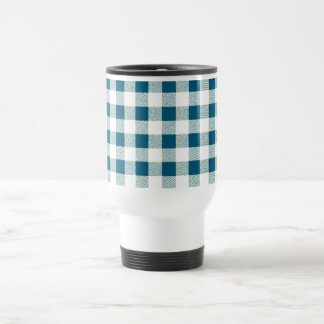 blueish green gingham check pattern travel mug