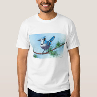 Bluejay in the pines t shirts