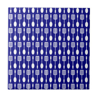 Bluel and White Kitchen Cooking Utensils Pattern Tile