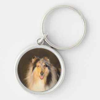 Bluemerle Rough Collie Keychain Round