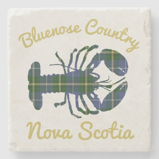 Bluenose Country N.S.Tartan Lobster coaster marble Stone Beverage Coaster