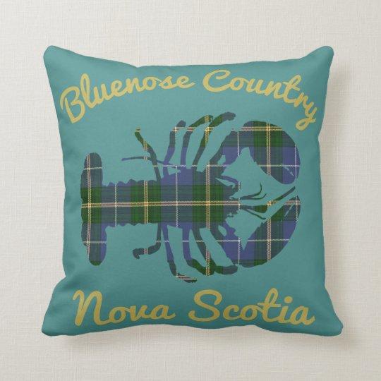 Bluenose Country Nova Scotia Tartan Lobster teal Cushion