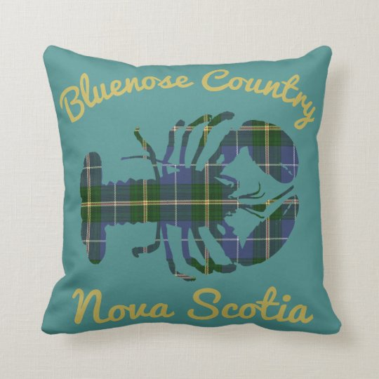 Bluenose Country Nova Scotia Tartan Lobster teal Throw Pillow