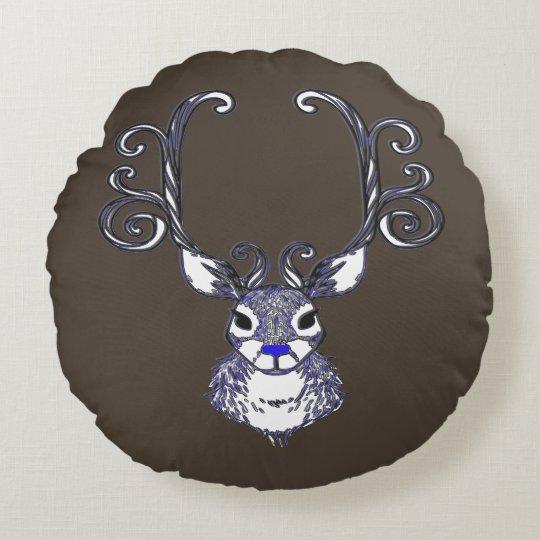Bluenoser Blue nose Reindeer deer pillow brown