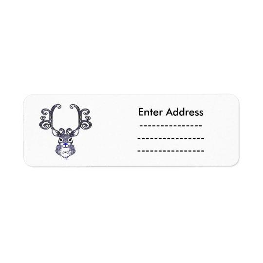 Bluenoser N.S. Blue  Reindeer deer Christmas label Return Address Label
