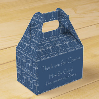 Blueprint Drawing Housewarming Blue and white Favour Box