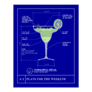 Blueprint for a Margarita Poster