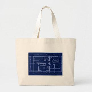 blueprint - house plan jumbo tote bag