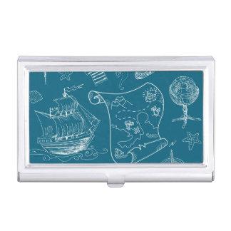 Blueprint Nautical Graphic Pattern Business Card Holder