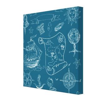 Blueprint Nautical Graphic Pattern Canvas Print