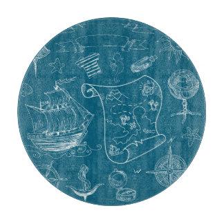 Blueprint Nautical Graphic Pattern Cutting Board