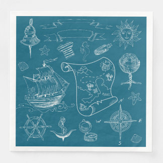 Blueprint Nautical Graphic Pattern Disposable Napkin