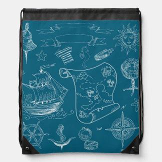 Blueprint Nautical Graphic Pattern Drawstring Bag
