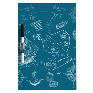 Blueprint Nautical Graphic Pattern Dry Erase Board