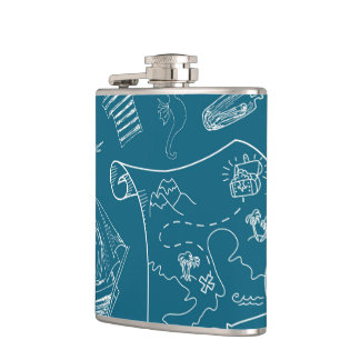 Blueprint Nautical Graphic Pattern Hip Flask