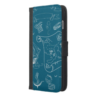 Blueprint Nautical Graphic Pattern iPhone 6/6s Plus Wallet Case