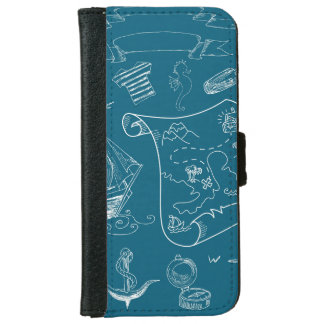 Blueprint Nautical Graphic Pattern iPhone 6 Wallet Case