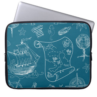 Blueprint Nautical Graphic Pattern Laptop Sleeve