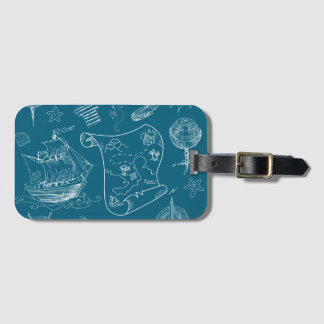 Blueprint Nautical Graphic Pattern Luggage Tag