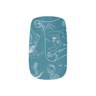 Blueprint Nautical Graphic Pattern Minx Nail Art