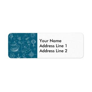 Blueprint Nautical Graphic Pattern Return Address Label