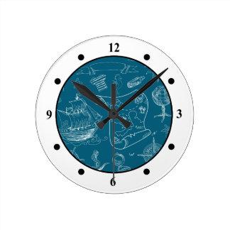 Blueprint Nautical Graphic Pattern Round Clock