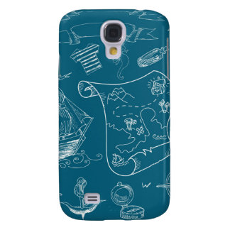 Blueprint Nautical Graphic Pattern Samsung Galaxy S4 Cases