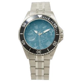 Blueprint Nautical Graphic Pattern Watch