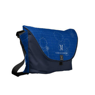 Blueprint Style Engineer Monogram | Name Courier Bags