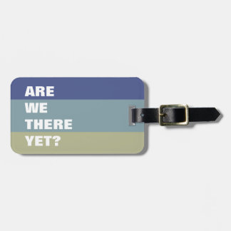 Blues and Khaki Color Palette Striped Funny Text Luggage Tag