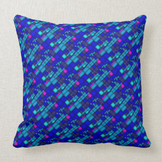 Blues and Pink Stained Glass Design Throw Pillow