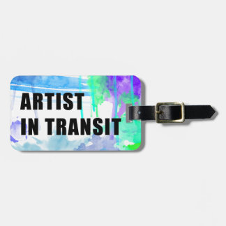 Blues and Purples Custom Artist Travel Tag