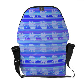 Blues and Purples Elephant Parade on Stripes Messenger Bags