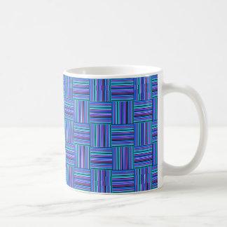 Blues and Purples Striped BasketWeave Mug