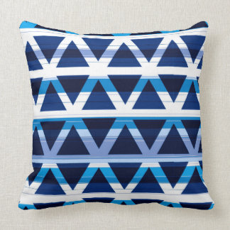 Blues and White Modern Triangle Pattern Cushion