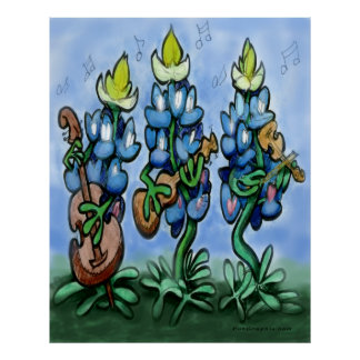 Blues Bonnets Poster